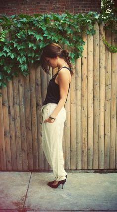 cute way to dress up linen Pants