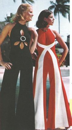 70s vintage retro fashion -  Good grief I remember these lol.  They were a pain in the rear for bathroom use.  lol.