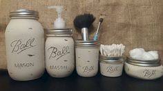 5 Piece Ball mason jar bathroom set - rustic, vintage, shabby chic by tothemoonnaturals on Etsy https://www.etsy.com/listing/269072505/5-piece-ball-mason-jar-bathroom-set