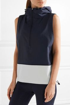 Tory Sport - Hooded Stretch-jersey And Shell Vest - Midnight blue -