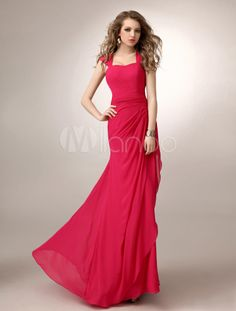 Fuchsia Sweetheart Neck Floor-Length Chiffon Bridesmaid Dress with Gorgeous Ruched A-line - Milanoo.com