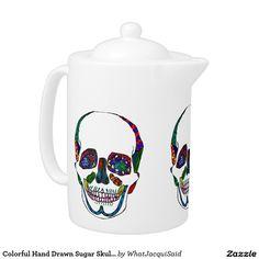 Your Custom Medium Teapot #teatime #tea #teapot #zazzle #artwork #skulls #skeleton #sugarskulls #dayofthedead