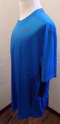 MEN'S NIKE FLASH DRI-FIT COOL SOCCER SHIRT DEEP AQUA BLUE/ BLACK 2XL EUC #NIKE #ShirtsTops