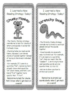 FREE -Beanie Baby Reading Strategies Parent Bookmarks - explain the strategies to parents so they can reinforce at home!
