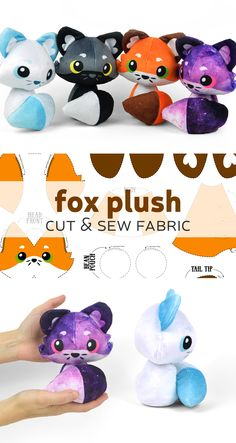 Make cute fox plushies with this custom fabric kit from Spoonflower Puppen Fuchs Fox plush cut & sew fabric gestrickte puppen Plushie Patterns, Animal Sewing Patterns, Diy Sewing Projects, Sewing Crafts, Sewing Tutorials, Fabric Crafts, Sewing Stuffed Animals, Stuffed Animal Patterns, Plushies