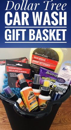 Dollar Tree Car Wash Gift Basket - Glitter On A Dime - Fundraiser baskets - Creative Gift Baskets, Gift Baskets For Him, Themed Gift Baskets, Diy Gift Baskets, Christmas Gift Baskets, Diy Christmas Gifts, Gift Baskets For Boyfriend, Homemade Gift Baskets, Xmas
