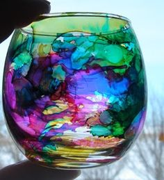 Alcohol Ink stained glass. time to find some glass goodwill items. amazing do it yourself. I really want to make! So gorgeous..
