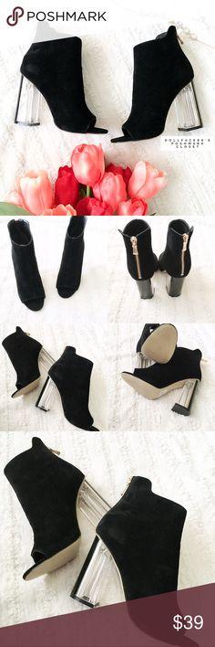 Selling this Black Peep Toe Clear Heel Booties on Poshmark! My username is: dollface86. #shopmycloset #poshmark #fashion #shopping #style #forsale #EGO #Shoes