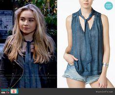 Maya's blue tie neck top on Girl Meets World.  Outfit Details: https://wornontv.net/58658/ #GirlMeetsWorld  Buy it here: http://wornon.tv/37015