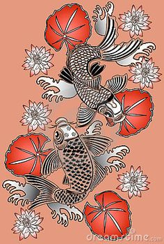 """Koi fish are the domesticated variety of common carp. Actually, the word """"koi"""" comes from the Japanese word that means """"carp"""". Outdoor koi ponds are relaxing. Koi Fish Drawing, Koi Fish Tattoo, Fish Drawings, Pencil Drawings, Art Koi, Fish Art, Coy Fish, Art Asiatique, Japon Illustration"""