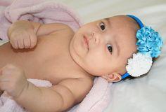 Baby Blue and white flower headband