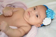 Baby Blue and white flower headband