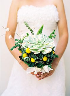 gorgeous succulent wedding bouquet