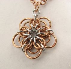Demeter Chainmaille Flower Pendant by dancingleafstudios on Etsy
