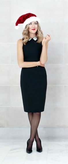 pearl collar embellished black sheath dress - perfect outfit for a work holiday party!