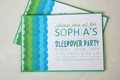 You're Invited! Scallop Sleepover Invitations - Lemon Drop Shop