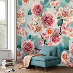 Wall is You I Colorful - wallpaper/fotobehang Colorful Wallpaper, Colour Schemes, Accent Chairs, Living Room, Interior Design, Flowers, Furniture, Home Decor, Murals
