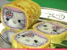 Funny pictures about Hello Kitty Sushi Rolls. Oh, and cool pics about Hello Kitty Sushi Rolls. Also, Hello Kitty Sushi Rolls. L'art Du Sushi, Sushi Art, Hana Sushi, Cute Food, Good Food, Yummy Food, Awesome Food, Sushi Kunst, Japanese Recipes