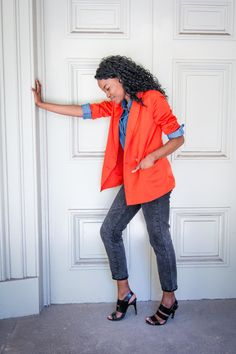 Statement Orange blazer over Canadian Tuxedo/Denim on Denim Orange Blazer, Canadian Tuxedo, Personal Style, Passion, Denim, Lifestyle, Creative, Inspiration, Biblical Inspiration