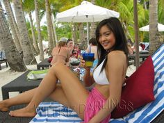 Riza Santos while sunbathing in Boracay