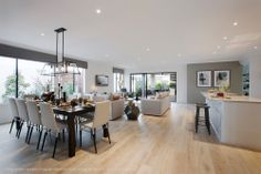 Grey and white living area open plan living, open plan kitchen living room, Open Plan Kitchen Dining Living, Open Plan Kitchen Diner, Open Plan Living, Living Room Kitchen, Dining Room, Modern Kitchen Design, Interior Design Kitchen, Modern Interior, Appartement Design