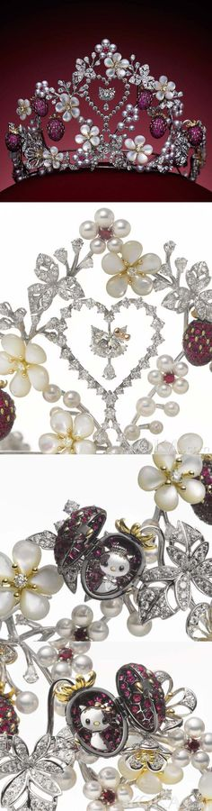 Mikimoto Hello Kitty tiara with strawberry motifs of rubies and flowers, designed with mother of pearls.  OH MY GOD
