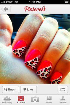 Cheetah nails with pink