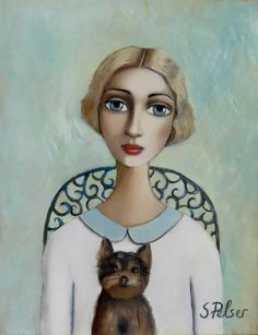 Artwork of Sandra Pelser exhibited at Robertson Art Gallery, specialists in the selling of original art of top South African Artists. Art Gallery, South African Artists, Arte Popular, Colorful Drawings, Whimsical Art, Pictures To Draw, Portrait Art, Face Art, Dog Art