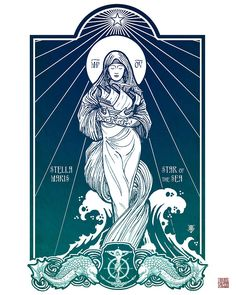 Stella Maris, Star of the Sea. Our Lady is our guiding star through the rough seas, leading us to safety in her son, Jesus Catholic Art, Religious Art, Ave Maris Stella, Illustrations, Illustration Art, Madonna, Queen Of Heaven, Mama Mary, Sainte Marie