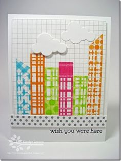handmade card from Moxie Fab World: The Get Daring with Decorative Tape Challenge Winners ... big city skyscape with strips of washi with rectangles ... grid paper background ... puffy white cloud die cuts ... fun card!!