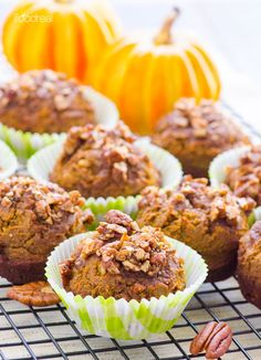 Pumpkin Crumb Protein Muffins Recipe -- Healthy Fall muffins with the most scrumptious sweet and salty topping, that are sweetened with dates.
