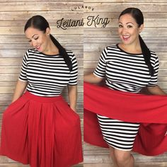 Striped Dress Outfit, Black White Striped Dress, Lularoe Julia Dress, Lularoe Dresses, Pretty Outfits, Cute Outfits, Pretty Clothes, Work Clothes, Red Skirts