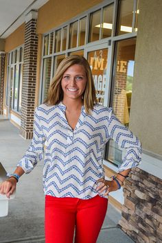 Ivory and blue print roll up sleeve henley style top
