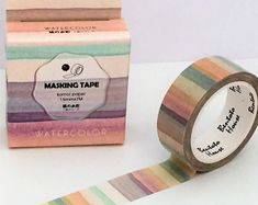 Washi Tape - Single Roll Set - Watercolour Paint Muted Rainbow - 15mm x 7 metres - Journal Adhesive Decorative Tape