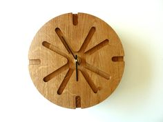 Wood Wall Clock - Unique Wall Clock - Wood Wall Decor - Modern Wall clock - Wall clock - Asterisk - solid oak.