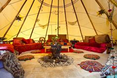 Inside a teepee in the backyard of an Australian home, it sleeps up to six people and has a small fireplace in the centre - wow! Yurt Living, Outdoor Living, Outdoor Decor, Small Fireplace, Camping Table, Indoor Playground, Australian Homes, Fun Projects, Glamping