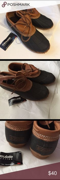 Mens Duck Shoes! Mens Soggs Duck shoes! Brown leather and navy Blue rubber! Thinsulate insulation for warmth. Steel shank. Mens size 11. Great condition tag fell off! Never worn! SOGGS Shoes Rain & Snow Boots