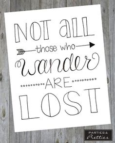 Not All Those Who Wander Are Lost - Black & White - Wanderlust - Handlettered Quote Print calligraphy quotes Bullet Journal Quotes, Bullet Journal Inspiration, Doodle Quotes, Kunstjournal Inspiration, Drawing Quotes, Drawing Ideas, Drawing Drawing, Hand Lettering Quotes, Simple Lettering