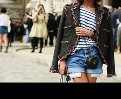 Tweed Jacket striped print & #Chanel clutch #Trends at Paris Haute Coutur Fall Winter 2013 Street Style #fall2013 #pfw