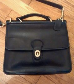 Vintage Coach Black Leather Crossbody Satchel Station Purse | eBay ::: aw, my gram used to have one of these.