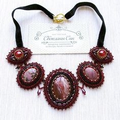 Колье в благородном бордовом цвете с яшмой, родонитами, гранатами, Swarovski, чешским стеклом, японским и чешским бисером. На бархатной ленте.  Нашло хозяйку)  #sinbead #sinbeadjewelry #мастерская_син #jewelry #necklace #украшения #колье #бордо #ooak