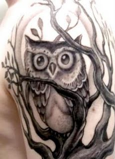 Owl tattoo by Corey Miller