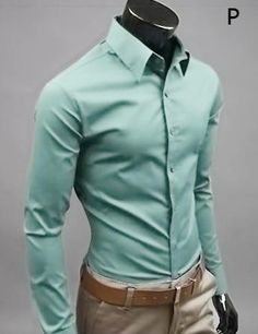 2017 New Men's Fashion Casual Solid Candy Color Long Sleeve Slim Fit Dress Shirt Top Slim Fit Dress Shirts, Slim Fit Dresses, Fitted Dress Shirts, Long Sleeve Shirt Dress, Long Sleeve Shirts, Mens Business Casual Shirts, Stylish Men, Men Casual, Swagg
