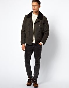 Selected Teddy Collar Double Breasted Bomber Jacket