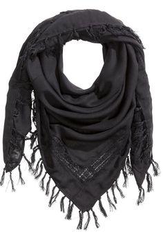 black cotton tassle scarf  <3