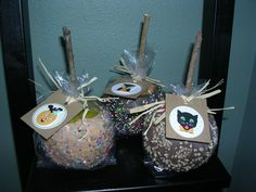 Faux chocolate and caramel covered apples. Apples from Dollar Store and then coverd with light-weight spakling paste and tiny beads for sprinkles and golden painted rocks for nuts. Made  tags and stuck sticks from my yard in them and then wrapped for gifting. No link:(
