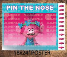 "TROLLS PARTY GAME,Poppy Pin The Nose, Pink Trolls movie Party decor 18X24"" Poster size (Big) by TRUSTITI on Etsy"