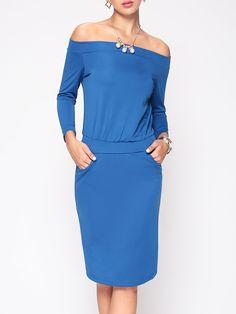 #AdoreWe #FashionMia Bodycon Dresses - FashionMia Dramatic Slash Neck Bodycon Dress - AdoreWe.com