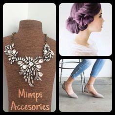 Buenos días!  Un peinado recogido, unas balerinas coquetas y este hermoso collar $280.00 #MimpiStyle #Inspiracion #GetTheLook   Morado+Gris+CollarMoño