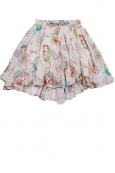 This beautiful, full circle skirt by Paper Wings clothing is made of 100% viscose twill with 100% cotton lining. It has an elastic waistband and a high low hemline, and is printed with colorful flower fairies on a pale pink background. We especially love this skirt with the Lace Singlet, but it can also be worn with the Flower Fairy Tee.